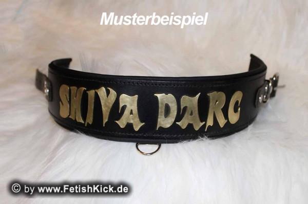 Musterbeispiel: Halsband, Schwarz/Schwarz - Schrift, Messing